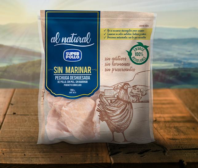 nuevo envase congelado productos al natural super pollo