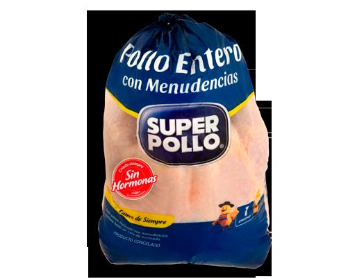 pollo entero con menudencias congelado super pollo