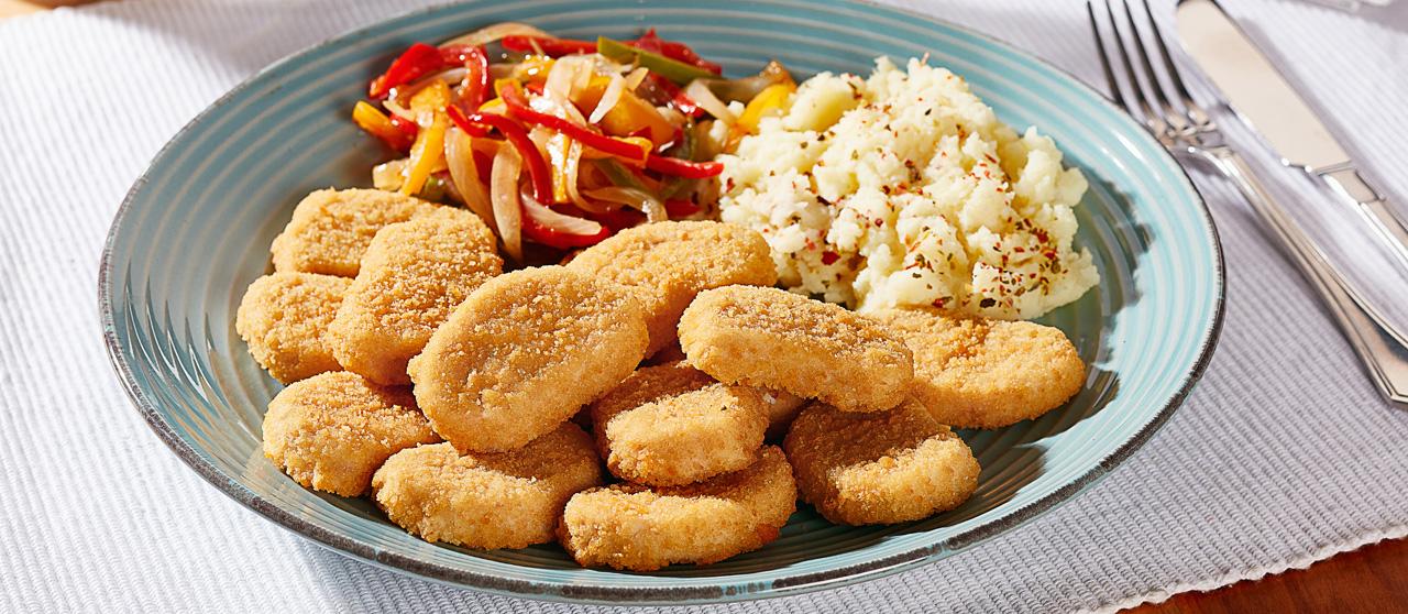Nuggets de pollo con puré de camote